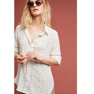 Anthropologie Sparkle Striped Buttondown Shirt Med